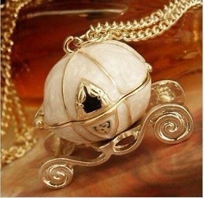 Fashion Lady's Disney Queen's Cinderella magic Pumpkin Carriage Locket Necklace