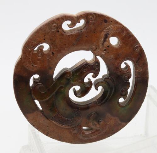 Chinese Oriental culture hand carve jade green round openwork dragon Disc Bi 09