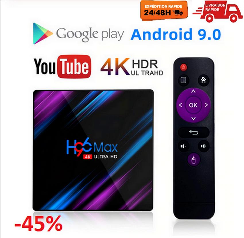 H96max Android 9.0 Smart TV BOX Assistant récepteur 4K 2Gb RAM WiFi Netflix EU