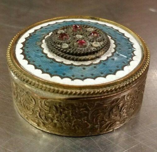 Antique Brass Compact Powder Box Pendant, Art Nouveau Blue Enamel Made in France