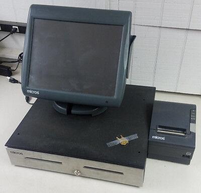 Micros Workstation 5a System Unit Pos W Stand Money Drawer Receipt Printer