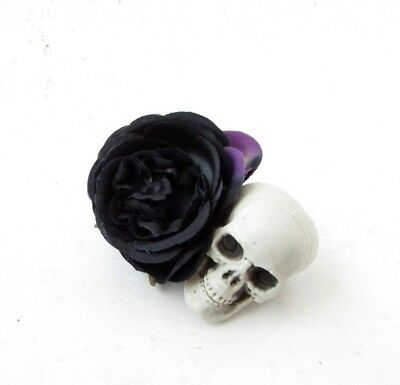 Day of the Dead Black Rose Sugar Skull Flower Hair Clip Fascinator Gothic 6132](Day Of The Dead Hair Flowers)