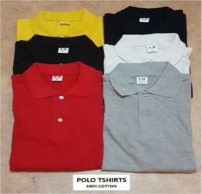NEW MENS POLO T SHIRT  100% COTTON PIQUE PLAIN SMALL MEDIUM LARGE UK -