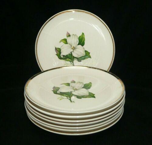 "American Limoges Glamour Trillium G-410 Set of 8 Salad Plates 7 3/8"" 22kt Gold"