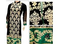 Designer Pakistani kurti chiffon embroidered £35