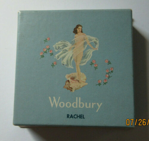 VINTAGE WOODBURY FACE POWDER ORIG BOX CHAMPAGNE RACHEL 1/2 oz MAKEUP NOS
