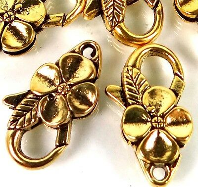 25x14mm Large Antique Gold Pewter Flower Lobster Claw Clasps (5) ~ Lead-Free