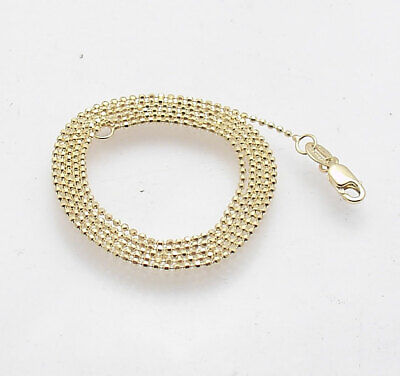 1mm Diamond Cut Round Bead Ball Chain Necklace REAL Solid 14K Yellow Gold  1mm Bead Chain Necklace