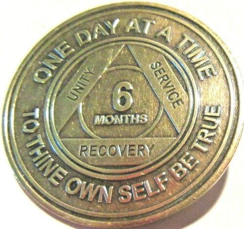 Alcoholics Anonymous AA 6 Month Bronze Medallion Token Coin Chip Sobriety Sober