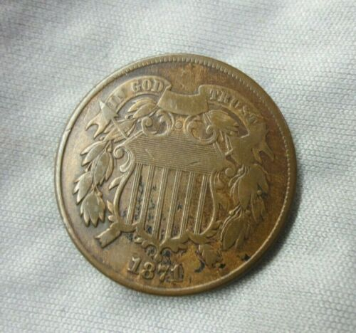 1871 Two Cent Piece VF+