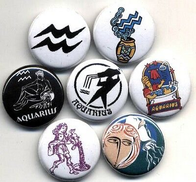Aquarius 8 New Button Pin Badge Zodiac Star Sign Horoscope Astrology