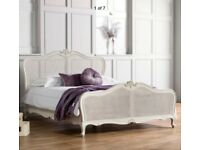 Kingsize French Bed, Vanilla White, solid wood, rattan / cane. Shop price £1015