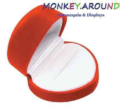 New Heart Velvet Engagement Wedding Ring Holder Jewelry Display Gift Box - Red