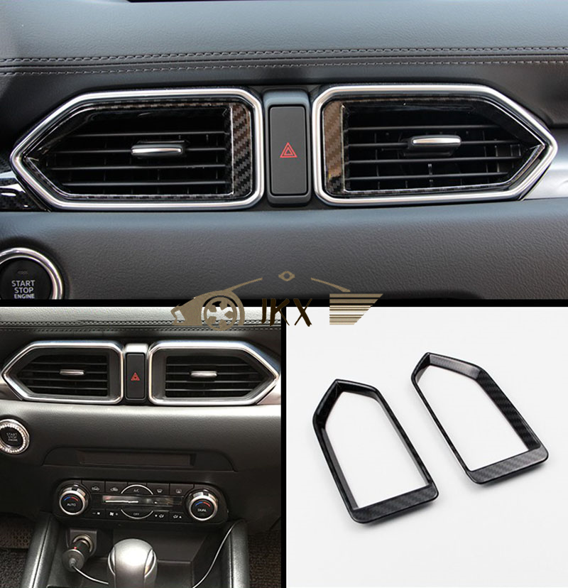 Mazda Cx 5 2017 Interior >> Details About 2pcs Interior Carbon Fiber Style Air Condition Vent Cover For Mazda Cx 5 2017 18