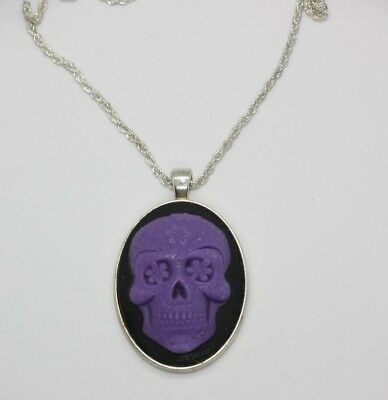 Purple Suger Skull Cameo Pendant Necklace With 16