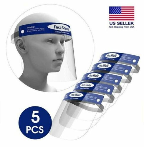 Face Shield 5 Pack Clear Guard Protector Mask Anti-Fog