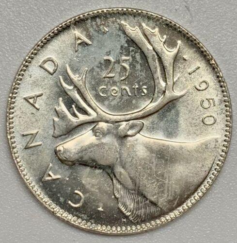 1950 Canada 25 Cent Silver Quarter BU Coin