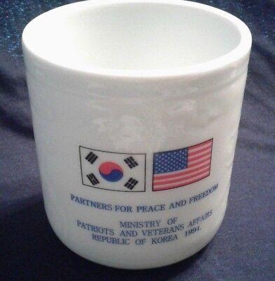 VINTAGE 1994 KOREA/U.S. VETERANS AFFAIRS COLLECTIBLE KOREAN CERAMIC CONTAINER