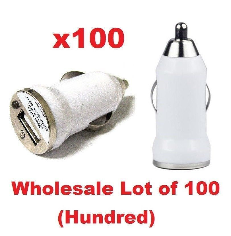 Lot 100 x White USB Universal Car Adapter Charger 1A iPhone 6 6+ 5s 5c Wholesale Cell Phone Accessories