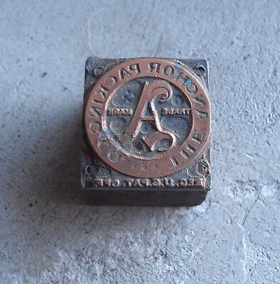 Vintage Wood Metal Letterpress Printer Block Anohor Packing Co