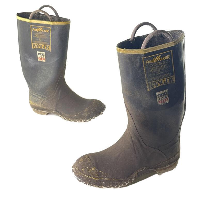 Ranger Firewalker Fireman Protective Boots Steel Tipped Size 9M VTG Made In USA