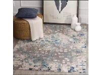 New Safavieh Abstract Watercolor Grey & Light Blue Rug / Carpet
