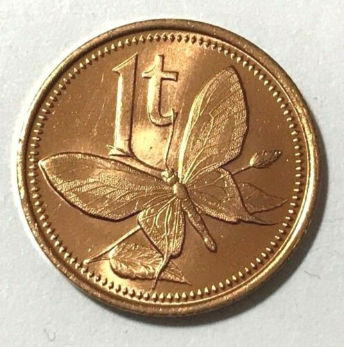 Papua New Guinea 1 toea, Butterfly, Insect animal wildlife coin