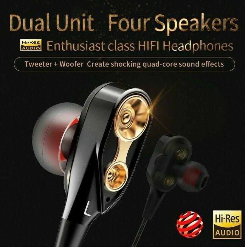 Dual Driver Earphones HIFI Earbuds Bass Headset In-ear Noise