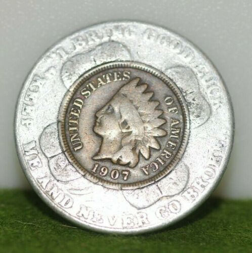"""Jamestown Exposition 1907 Indian 1c """"lucky penny"""""""