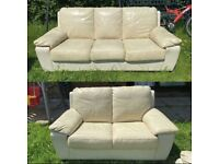 2&3 seater leather cream sofas can be delivered