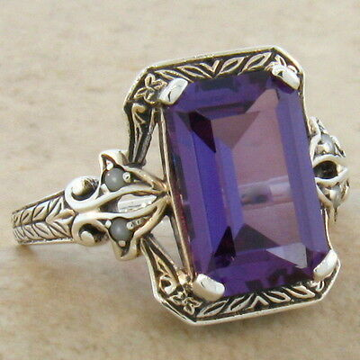 5 CT. COLOR CHANGING LAB ALEXANDRITE ANTIQUE DESIGN 925 SILVER RING Sz 7.75,#197