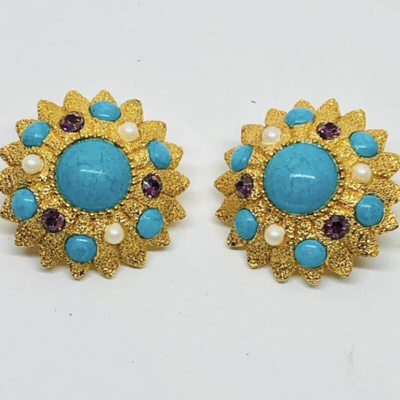 Vintage Gold Tone Floral Clip On Earrings With Lucite Cabochons