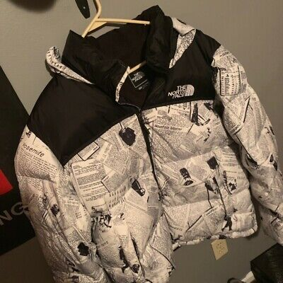 Rare Novelty Nuptse Newspaper Print The North Face Coat