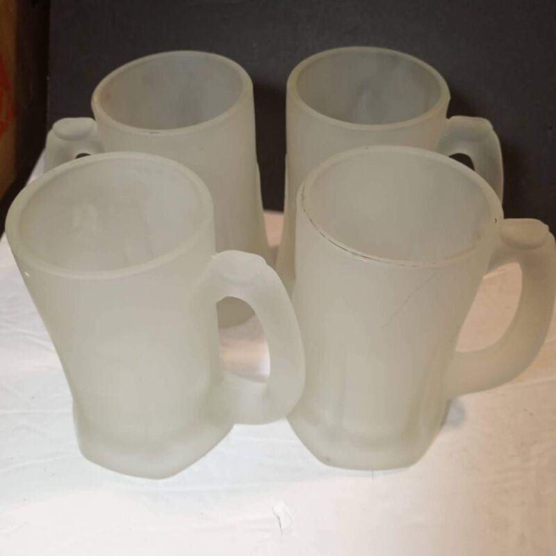 Tiara Indiana Glass 4 Satin Frosted Tankards Mugs Patio Beverage Set