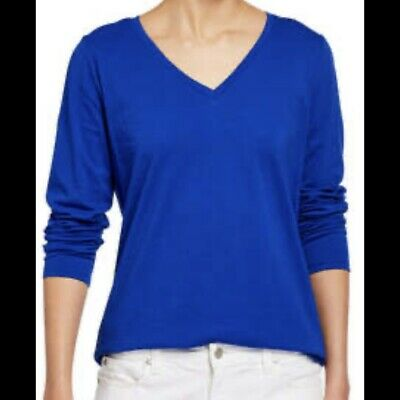 Eileen Fisher Women's Size L Blue Long Sleeve V Neck Tee Shirt Organic Cotton