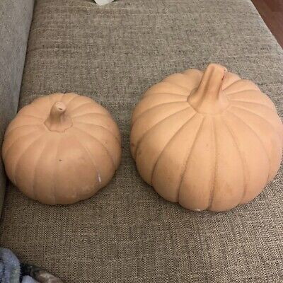 Pier 1 Ceramic Terra Cotta Pumpkins Set Of 2