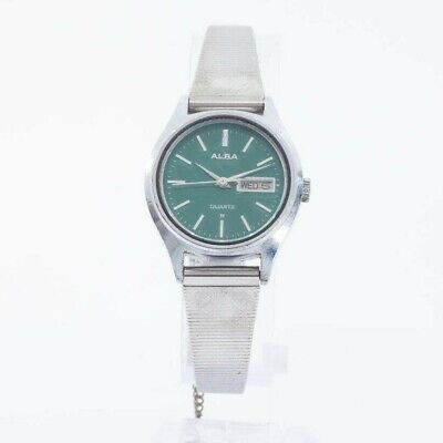 SEIKO ALBA Y468-0010 LADIES WATCH GREEN DIAL JAPAN