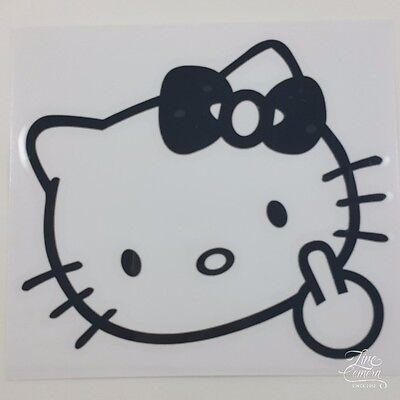 """HELLO KITTY MIDDLE FINGER FLIP OFF CAR DECAL STICKER VINYL VEHICLE 5""""x4.5"""""""