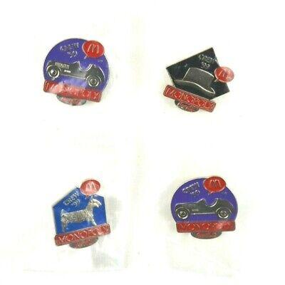 VTG Sealed McDonalds Employee Staff Crew Pins Lot Of 4 Monopoly Pins Car Dog -