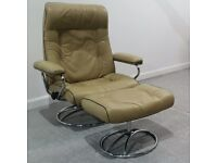 Ekornes Stressless Retro swivel recliner leather chair and Stool 240221