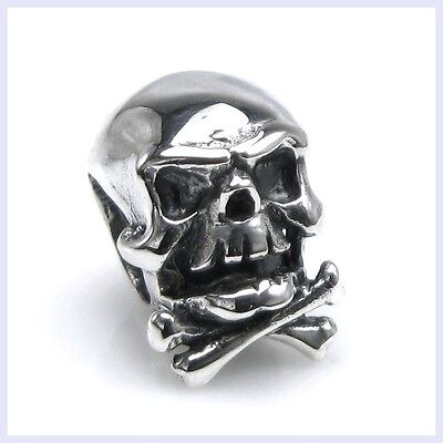 Sterling Silver Skeleton Skull Bone Halloween Bead for European Charm - U2 Halloween