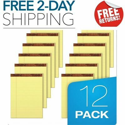The Legal Pad Writing Pads 8-12x11-34 Canary Paper Legal Rule 50sheets 12pcs