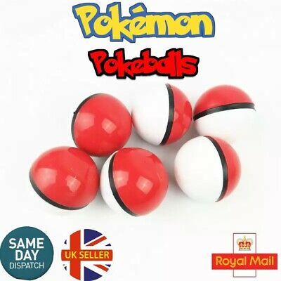 Pokeballs 6 Red Pokemon Figure Mini Pikachu Ash Master Toy Balls Go Uk Seller
