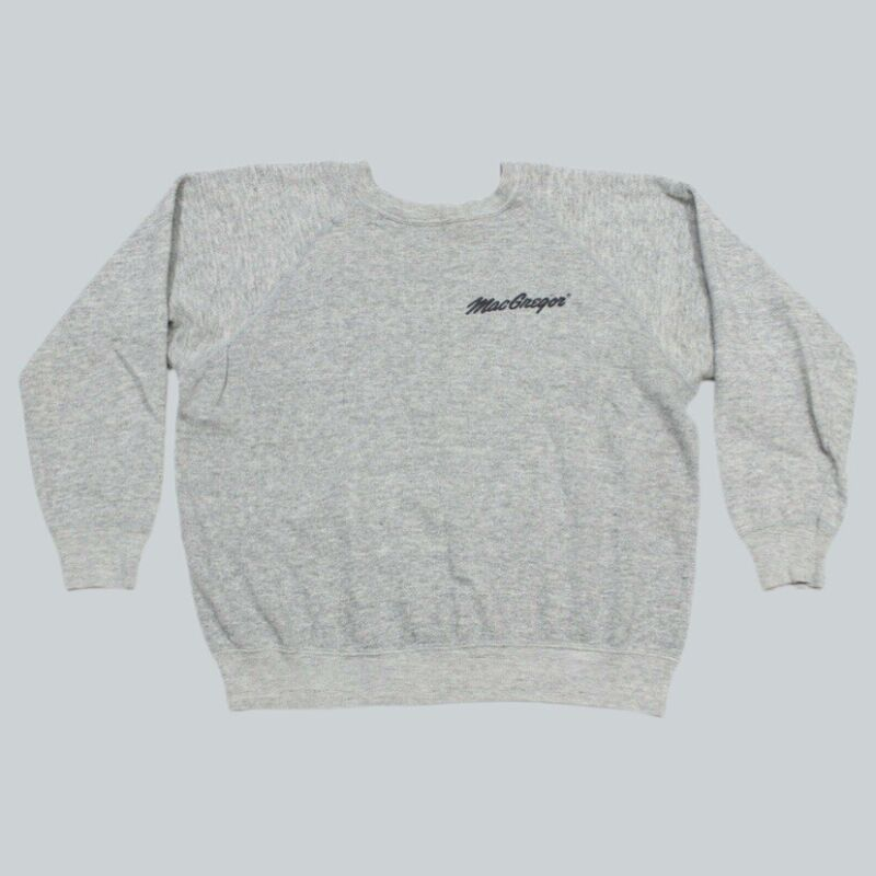 VTG 70s Macgregor Gray Pocket Print Raglan 50/50 Sweatshirt USA Men