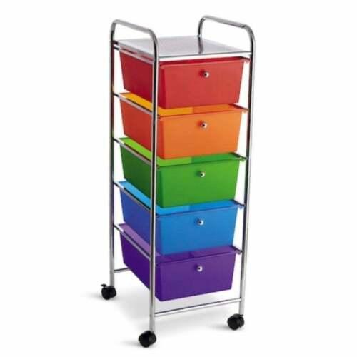 5 Drawer Rainbow Rolling Storage Cart Classroom Teacher Craft Art Organizer