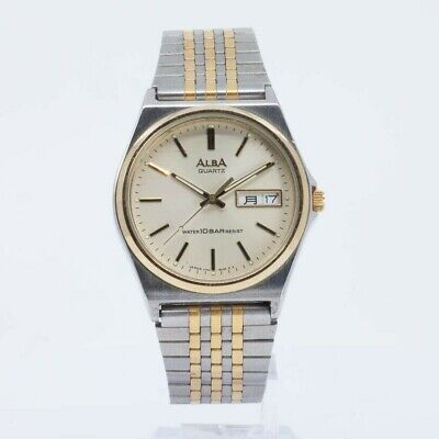 SEIKO ALBA QUARTZ V743-8A10 TWO TONE Watch JDM