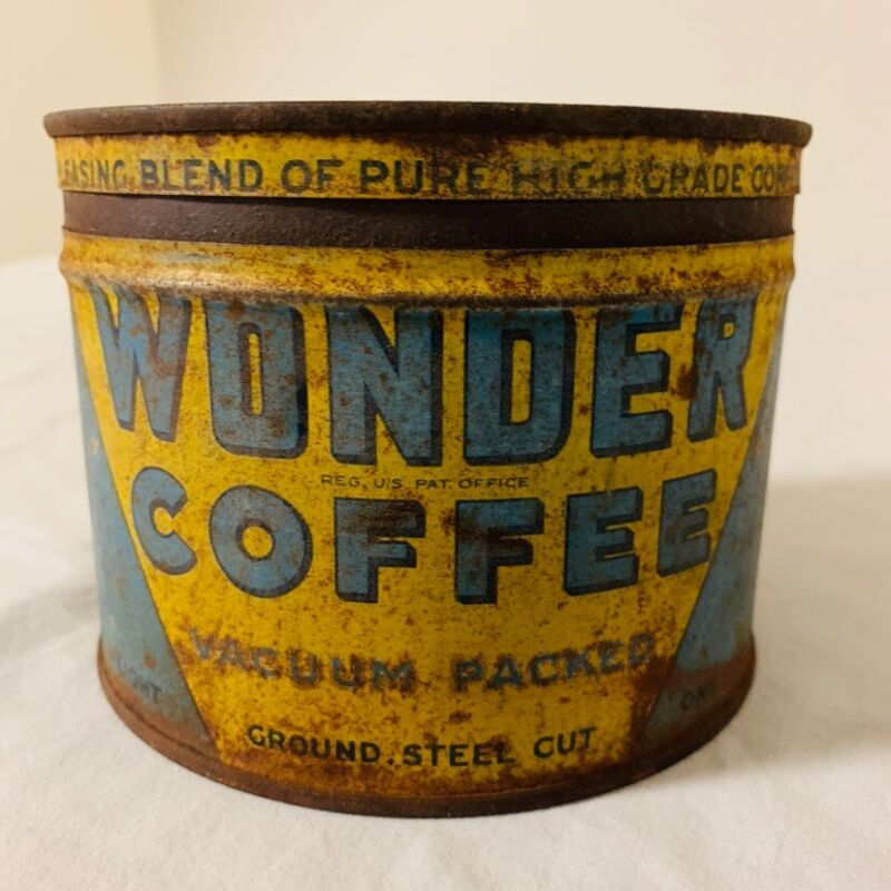 Wonder Coffe Advertising Tin. Origional. With Lid. Great Display Piece!