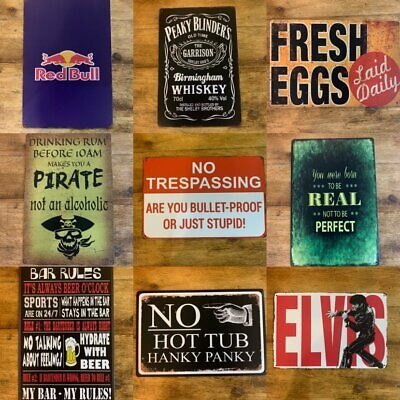 Metal Sign Vintage Retro Drink Kitchen Bar Motor 1950's From £2.95 NEW TITLES