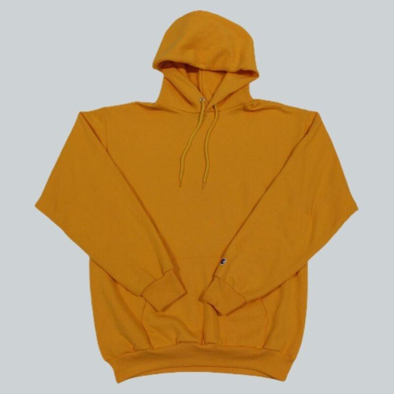 VTG 90s Champion Reverse Weave Yellow Blank 50/50 Hoodie Sweatshirt Men