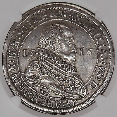 Click now to see the BUY IT NOW Price! AUSTRIA HALL MAXIMILIAN SILVER THALER 1616 NGC AU58